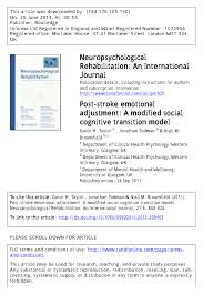 post stroke emotional adjustment a modified social cognitive