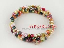 multi pearl bracelet images Fashion multi strand multi color freshwater pearl elastic wrap jpg