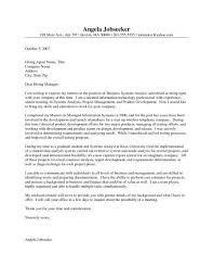sample business systems analyst cover letter business systems