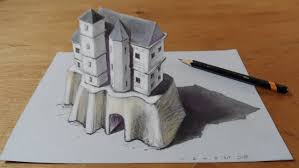 trick art drawing 3d castle on paper youtube