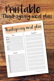 printable thanksgiving meal plan for hosting dinner