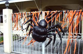 Halloween Decoration Ideas Outside Black Spider Decoration On Railing Fences Outside Part Of