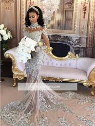 luxury wedding dresses silver sleeve mermaid lace high neck luxury wedding