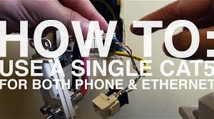 how to use a single cat5 cable for both phone and ethernet youtube