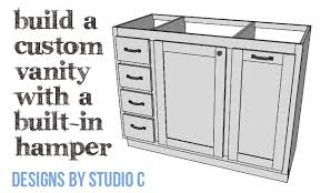 Bathroom Cabinet With Built In Laundry Hamper Diy Plans To Build A Bath Vanity With A Built In Clothes Hamper