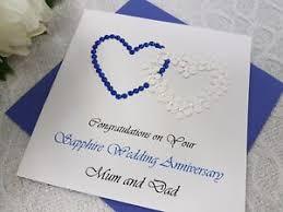 45th wedding anniversary sapphire 65th 45th wedding anniversary card handmade personalised