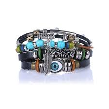 multi leather bracelet images Evil eye vintage multi layer leather bracelet bangle zenshopworld jpg