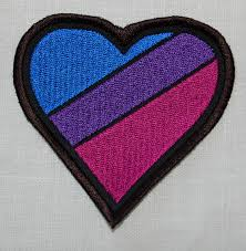 Flag Badges Embroidered Bisexual Bi Pride Rainbow Flag Heart Embroidered Patch Badge