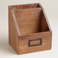 Desk Organizer Box Wood Mini Desk Organizer World Market