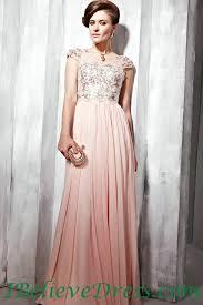 chiffon applique cap sleeves women long formal evening prom dress