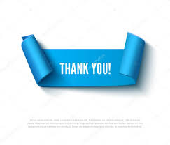 blue curved paper banner with rolls inscription thank you