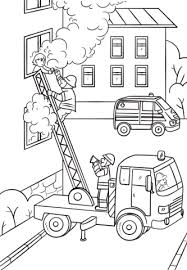 fireman is climbing up the truck ladder to save a coloring