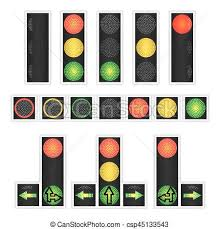 traffic lights ls isolated on white yellow green
