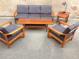 canape teck salon scandinave en teck comprenant 2 fauteuils et une banquette