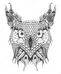 great horned owl head zentangle stylized vector illustration