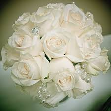 White Rose Bouquet Two Buds Floral Artistry Edmonton Wedding Flowers Edmonton Flowers