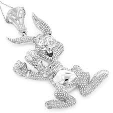 custom necklace pendants real custom jewelry diamond bugs bunny pendant 2 48ct gold plated