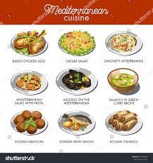a à z cuisine mediterranean cuisine food traditional dishes เวกเตอร สต อก