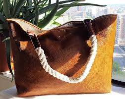Cowhide Overnight Bag Cowhide Leather Bag Etsy