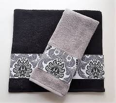 Decorate Bathroom Towels Black And Grey Damask Towels Bathroom Towel Decor Damask Decor