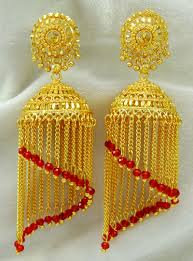 gold earrings jhumka design ethnic indian traditional gold plated jhumka earrings set women