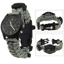 fire survival bracelet images Camo 550 paracord survival watch bracelet with compass flint fire jpg