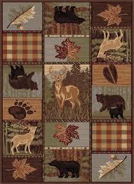 11 X 11 Area Rug Amazon Com Universal Rugs Colorblock Wildlife Novelty Lodge
