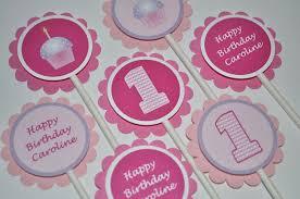 1st birthday door sign cupcake theme pink and purple
