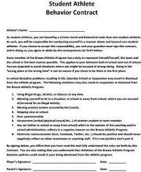 athlete behavior contract template study com