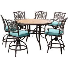 Patio Furniture Bar Height Set - hanover monaco 7 piece aluminum round outdoor bar height dining