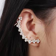 s ear cuffs ear cuffs for women women s rhinestone earring clip gold