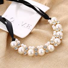 necklace pearls ribbon images Minhin imitation pearl chokers necklace white black beads jpg