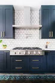 blue kitchen tile backsplash kitchen with navy blue island white walls black framed windows