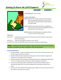 World Of Work Map by Getting To Know Me Act Explore Grade Lesson