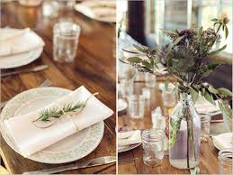rustic wedding reception table settings
