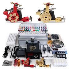 professional complete tattoo kit gun 2 machines inks sets