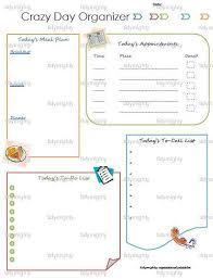crazy day daily planner organizer printable pdf instant