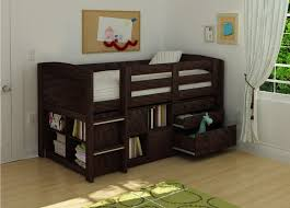 bedroom wood kids bunk bed with storage drawers and cupboard