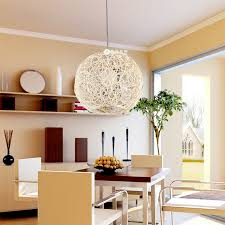 woven ball ceiling types above small table for dining room design