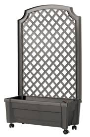 amazon com exaco 1 416 grey calypso planter with trellis and