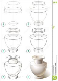 Vase Drawing Page Shows How To Learn Step By Step To Draw Antique Vase Stock