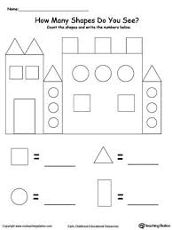 recognize and count the shapes in the castle printable