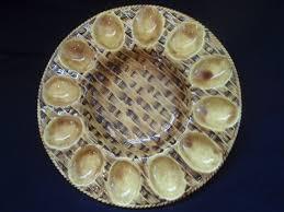 ceramic deviled egg platter deviled egg platter with basket weave pattern retro vintage marked