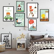 Monkey Decor For Nursery Nordic Style Cat Monkey On Canvas Painting Wall Decor