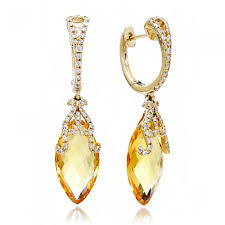 citrine earrings diamond dangle earrings clip marquise 14k yellow gold