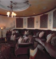 home theater recessed lighting vancouver home theater room craftsman with red walls person sofas