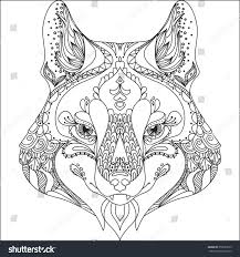 abstract wolfornate isolated vector illustration zentangle stock