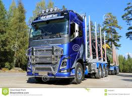 volvo long haul trucks two volvo fh trucks haul ponsse forestry machinery editorial