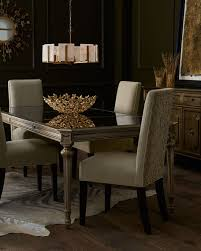 roberta antiqued mirrored dining table