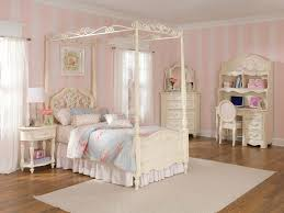 charming girls bedroom design featuring cream metal canopy bed